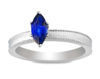The Venice Ring - Lab Grown Sapphire 14K White Gold