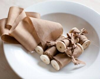 Silk ribbon, hand-dyed, Plant-dyed Brown/gold 100% Pure silk habotai ribbon, bridal bouquet ribbon, marbled silk ribbon