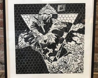 Woodcut 'Beez Kneez' 24x24, black and white, relief, honeycomb, hexagon, triangle, lilly, pieces, colorado, framed, archival, print