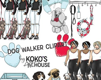 Dog Walker Clipart, Fashion Girls, dogs, puppies, puppy, Glitter graphic digital Clip Art, Planner Stickers
