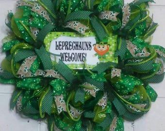 St. Patrick's Day leprechaun welcome wreath