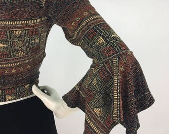 70s tribal top, 1970s bell sleeve top