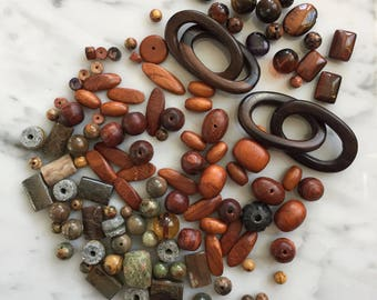 Natural colored wood, stone and glass beads