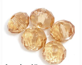 10 pcs-bead 8 mm x 6mm swarovski champagne has faceted rondelle 6mm x 8mm