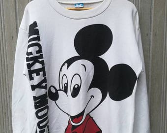 Vintage Disney Mickey Mouse Sweatshirt Big Logo Spell Out Jumper Pullover Sweater