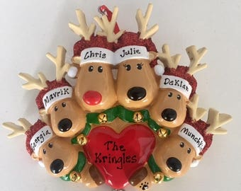 New Reindeer Family of 6 Personalized Christmas Ornament