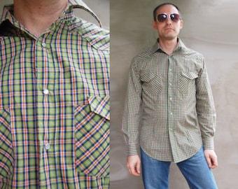 80s Vintage Mens Plaid Western Shirt, Vintage 80s Long Sleeve Men Shirts, Tartan Shirt, Cotton Button Down Grunge Shirt, Hipster Clothing M