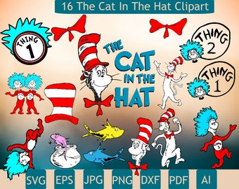 16 The Cat In The Hat Clipart | Cat In The Hat Svg | Few Layers | Quality Photos | Cat In The Hat | Printable | Cricut | Insta Download
