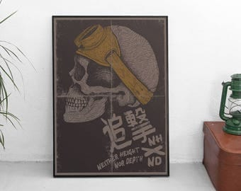 Skull Art Print - Kanji Pursuit Poster