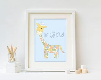 Be Curious Safari Nursery Art Print