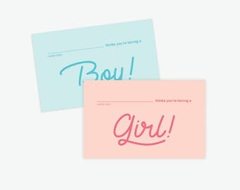 Baby Shower Gender Reveal Guess Cards