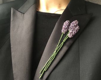 Lavender brooch Purple green beaded brooch Beadwork hand embroidered Provence jewelry Jacket coat flower pin French style gift accessory
