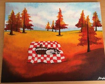"Cat Picnic (Acrylics on Canvas) 10 x 8"""