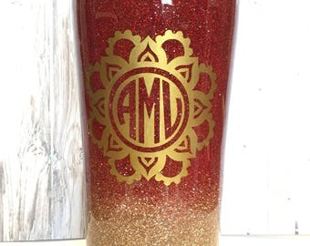 Custom Red and Gold Ombre Glittered Tumbler, Glitter tumbler, Personalized tumbler, Gift for her, Gift for mom, Ozark Tumbler