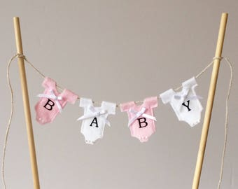 Baby shower cake topper . Cake bunting . Baby girl bunting . Pink cake topper .