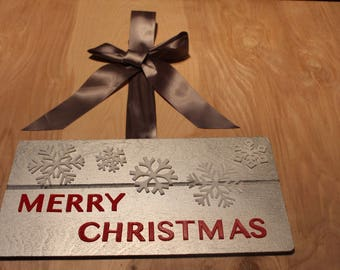 Merry Christmas door hanger/sign with silver ribbon