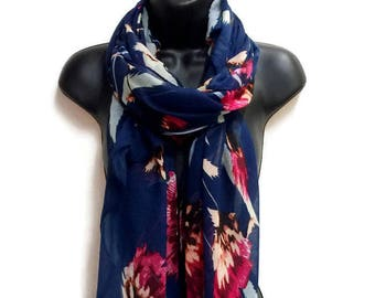 Thistle Flower Blue Scarf,Spring Summer Scarf,Fashion Accessories,Gifts For Her,Gifts For Mother,Printed Scarf,Women Scarf,Christmas Gifts