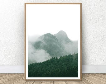 Mountain Printable, Foggy Mountain, Forest Prints, Green Decor, Green Landscape, Abstract Mountains, Minimalist Mountain, Nordic Printable