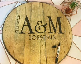 Wedding guest book convert to table Solid oak hand burnt whiskey barrel sign unique rustic wood sign pyrography