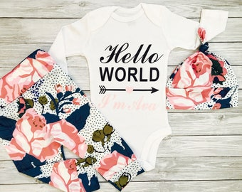 Newborn Baby Girl Clothes, Infant Girl Clothes, Take Home Outfit Girl, Personalized Baby Girl Clothes, Baby Girl Clothes Newborn