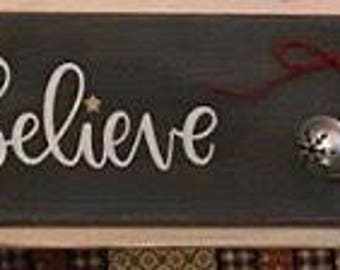 Believe Christmas sign with bell, christmas, christmas decor, jingle bells, rustic christmas