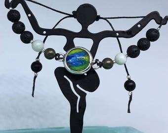 Adjustable Bracelet - essential oil diffuser - lava beads - boho - unique gift - pendant - amazonite - pyrite - black agate -silver