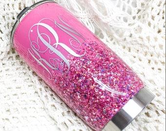 Glitter ombre tumbler - pink tumbler - barbie tumbler - monogram tumbler - yeti - rtic - ozark - tumbler - glitter - pink - personalized