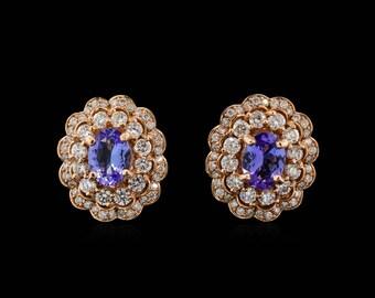 Rose Gold Tanzanite Earrings