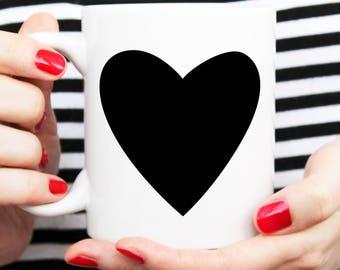 love you mug, modern heart mug, heart cup, black heart, heart illustration