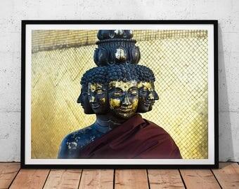 Buddha Art Photo // Many-Faced Buddha Print, Thailand Travel Photography, Buddhism Home Decor, Golden Buddhist Temple Statue Wall Art