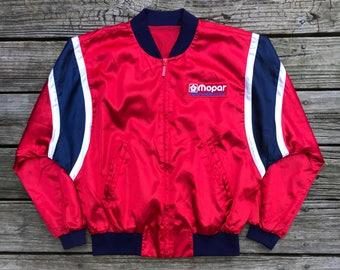 MOPAR Performance Vintage 80s Red Racing Rally Bomber Jacket Men's M