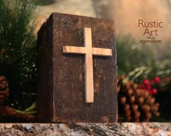Cross | Reclaimed Wood Rustic Candle Holders