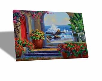 Canvas paintings Canvas-Mikki Senkarik-rough sea-yellow BUS