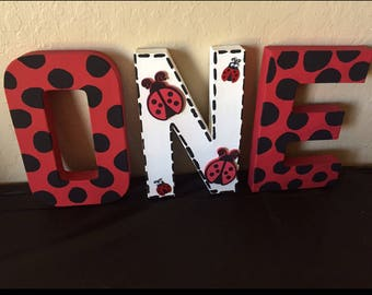 Ladybug birthday theme letters one