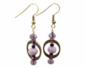 Amethyst colored crystal earrings