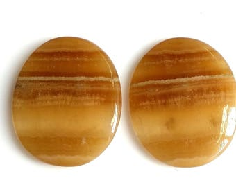 Yellow Lace Agate,Oval  Pair,Cabochon,Size-22x18 MM Natural,Yellow Lace Aget, Loose Gemstone, Smooth Cabochons.