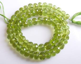 Peridote,Roundel Faceted , Beads, Size- 6x6 MM, Natural Peridote,Roundel ,  Beads, AAA Quality, Bead, Natural Gemstone, 10 INCH