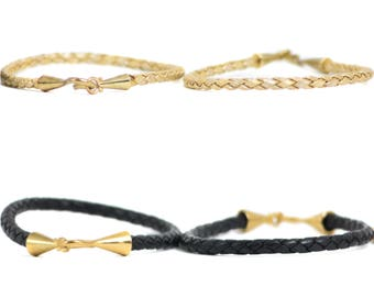 Black Leather | Braided Leather | Braided Leather Cord | Genuine Leather Band | Hook Bracelet | Leather Bracelet | Gold Leather | Leather