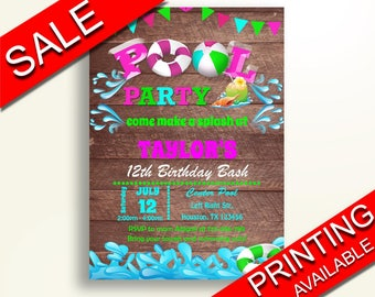 Pool Party Birthday Invite Pool Party Birthday Party Invite Pool Party Birthday Party Pool Party Invite Girl swimming printables PLFJB
