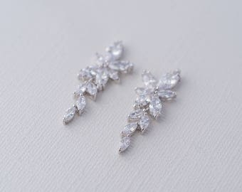 Sienna Cubic Zirconia Earrings, Drop CZ Earrings, Bridal Earrings, Wedding Earrings, Statement Crystal Earrings, Bridesmaid earrings