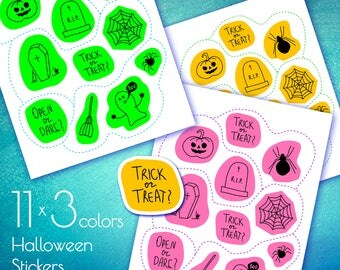 11 Halloween Stickers Clipart 3 colors, PNG, Printable stickers, Transparent background, Instant Download Graphics