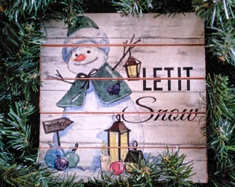 Wreath sign Snowman Let it Snow Christmas Holiday