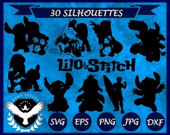 30 Lilo and Stitch Silhouette | Lilo and Stitch SVG | Lilo and Stitch Clipart | Lilo and Stitch Vector | Vinyl Decal | Circuit | Cut Files