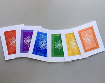 Snowflake rainbow blank cards (set of 6), individually handmade: holiday cards, fine cards, SKU BLA21063