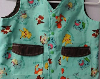 CLEARANCE! Size S Weighted Vest for Child w/Special Needs and Sensory Issues. Pokemon Print.