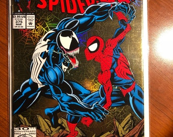 1993 AMAZING SPIDER-MAN # 375 Venom 1st appearance of Ann Weying (Bride of Venow) V/F