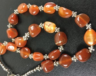 Orange stone necklace, vintage carnelian necklace