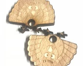 Wooden turkey earrings!