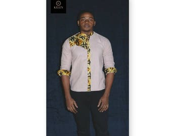 African cotton Batik fabric men shirt