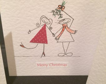 Mistletoe kisses Christmas card. Hand made card. Husband. Wife. Boyfriend. Girlfriend
